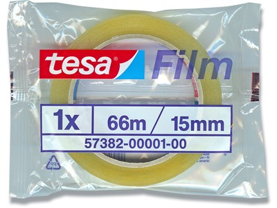 Tape, 15 mmx66 m, 1 rulle, Transparent, Tesa Flowpack 57382