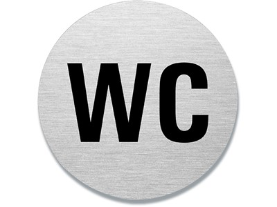 Dørskilt, Ø 75 mm, 'WC'', Aluminium, BNT Office