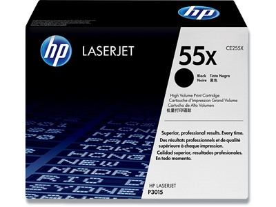 Toner, 55X, Black-sort, 12.500 sider, HP CE255X