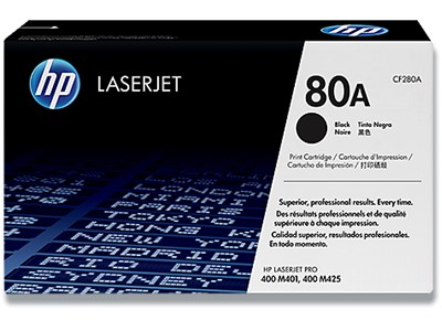Toner, 80A, Black-sort, 2.700 sider, HP CF280A