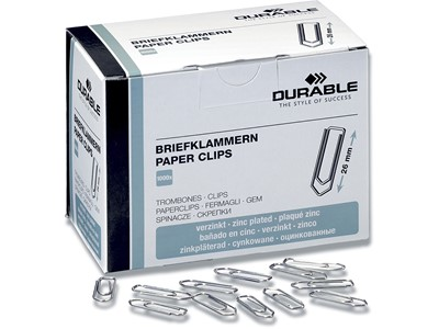Papirclips, 26 mm, Krom, 1000 stk, Durable