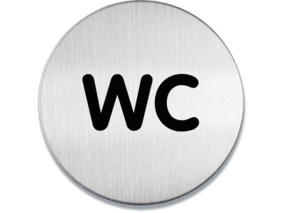 Dørskilt, Ø 83 mm, ''WC'', Børstet rustfri stål, Durable