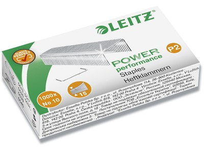 Hæfteklammer, No. 10 P2, 10 ark, 1.000 klammer, Leitz Power Performance P2