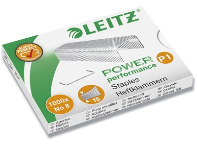 Hæfteklammer, No. 8 P1, 15 ark, 1.000 klammer, Leitz Power Performance P1