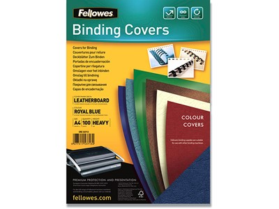 Indbindings for- og bagsider, Karton, A4, Kongeblå, Fellowes Leathergrain
