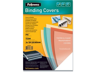 Indbindings for- og bagsider, PVC-Plast, A4, Transparent, Fellowes