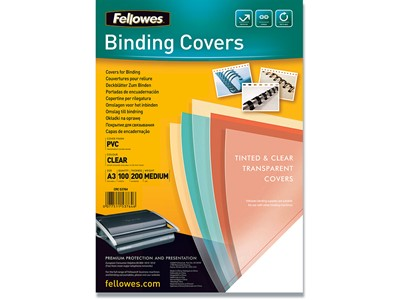 Indbindings for- og bagsider, PVC-Plast, A3, Transparent, Fellowes