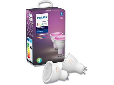 Pære, GU10, 2 stk, White and Color ambiance, Philips Hue Bluetooth