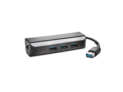 Hub, 3-Port, Ethernet adapter, USB 3.0, UA3000E, Kensington