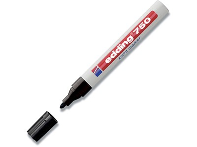Paint marker, 2-4 mm, Sort, Rund spids, Edding Paint 750