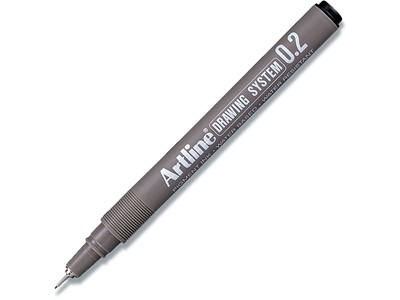 Fineliner, 0.2 mm, Sort, 1 stk, Artline Drawing System EK-232