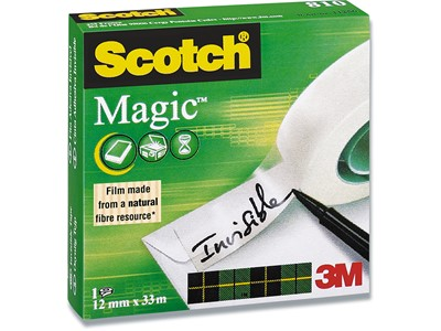 Tape, Usynlig, 12 mmx33 m, 1 rulle, Scotch Magic 810