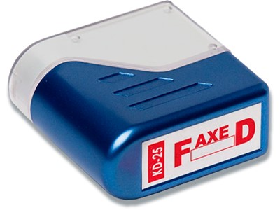 Stempel, ''Faxed'', Rød, Fast farvepude, Deskmate