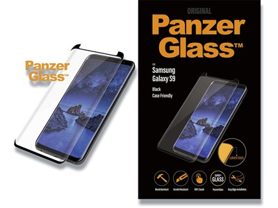 Panserglas, Samsung Galaxy S9, Sort, 1 stk, PanzerGlass Casefriendly