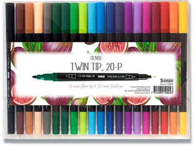 Twin pens 0,4mm/1,2mm 20 stk assorterede Sense
